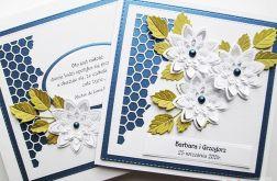 Kartka NA ŚLUB - białe kwiaty