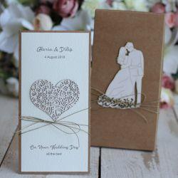 Rustykalna kartka ślubna z pudełkiem 13