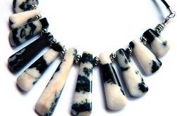 Jaspis zebra, kamień motywacji, kolia srebro