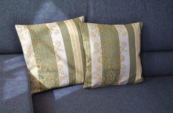 Poszewka dekoracyjna -Oliwkowe pasy i bogate wzory