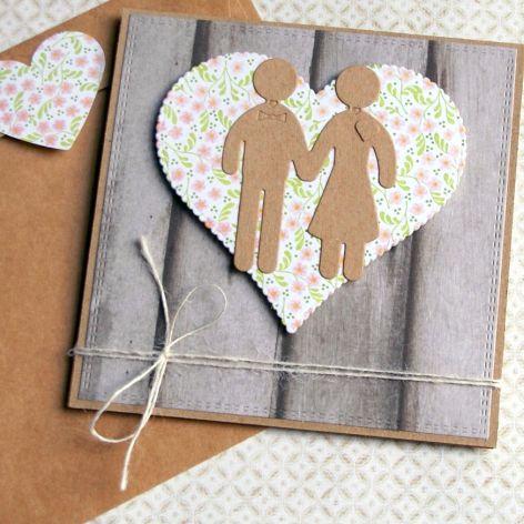 kartka ślubna :: ludziki :: pink&grey