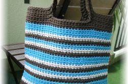 Torba bawełniana, brązowo-szaro-niebieska
