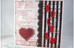 Kartka na Walentynki z napisem KOCHAM