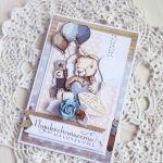 Kartka Vintage BOY urodziny króliczek GOTOWA -