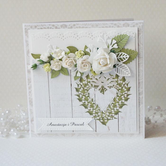 Kartka ślubna z bukietem kwiatów v.2 - buk3b