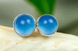 Drobinki z niebieskimi agatami d097