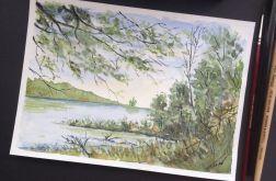 Obraz akwarela Po południu woda natura pejzaż
