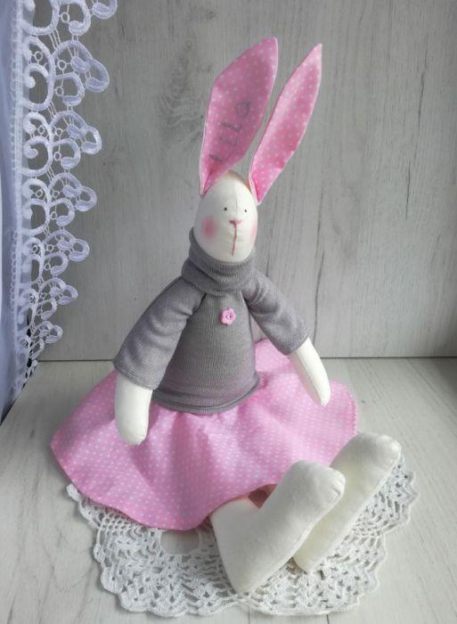 Króliczek Tilda 48cm w sweterku różowy GOTOWY -