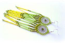 Boho koralikowe kolczyki indiańskie długie