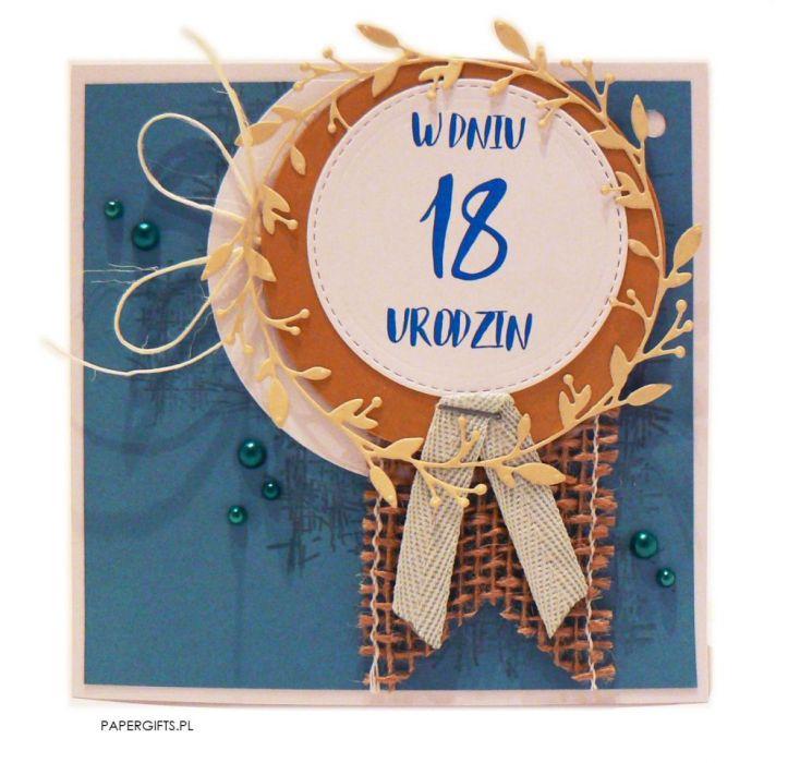 Niebieska kartka na 18 urodziny ręcznie robiona