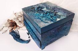 Toaletka, szkatułka, pudełko z motylem w granatach