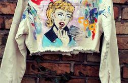 kurtka jeans krotka recznie malowana komiks