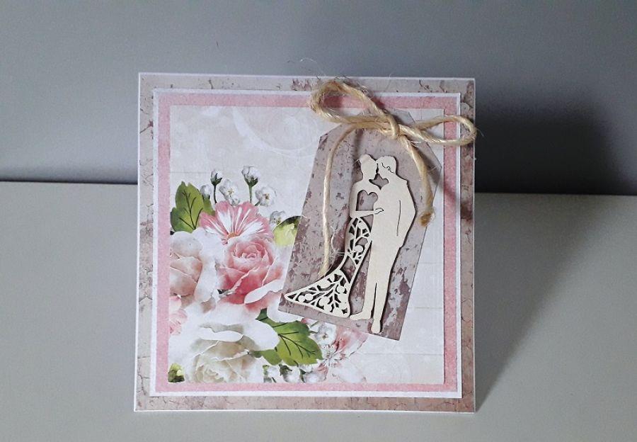 Kartka ślubn na ślub para młoda kwiaty ażur