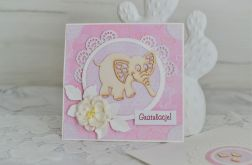 Kartka gratulacyjna ze słonikiem różowa