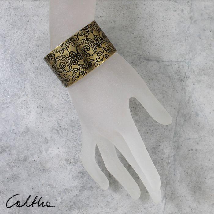 Mosiężna bransoleta - pnącza 171203-02 - Szeroka bransoletka