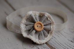 Opaska niemowlęca - Len, drewno, koronka