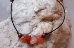 Bransoletka kamienie naturalne agat karneol i jaspis brązowy regulowana
