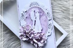 Kartka ślubna w pudełku z okienkiem violet