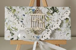 Kartka ślubna kopertówka ślub gołąbki róże