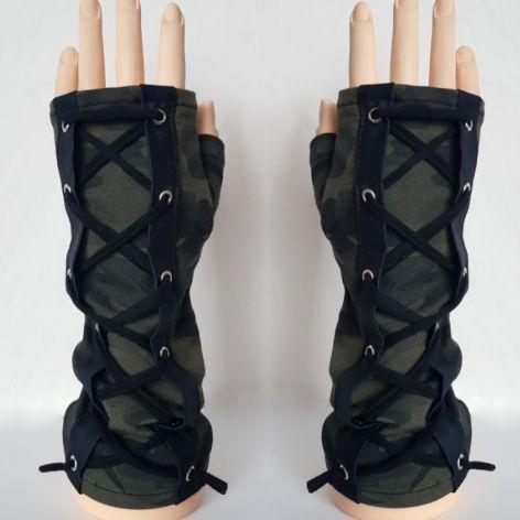 Rękawiczki mitenki moro wiązane