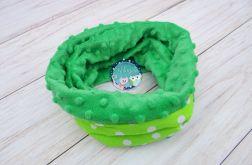 KOMIN szalik chusta - bawełna i Minky - zielony białe grochy