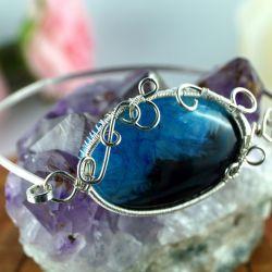 Agat, Srebrna bransoletka z agatem niebieskim