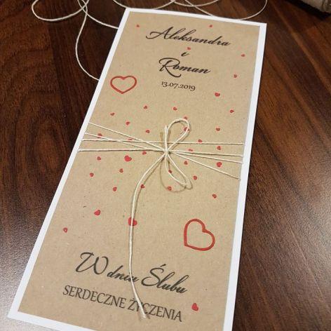 Kartka ślubna z serduszkami 2