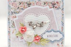 Przestrzenna kartka ślubna z kwiatami KS1913