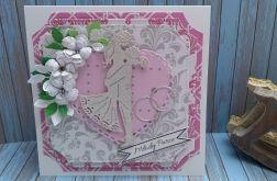 Kartka ślubna Różowe Serce1