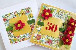 Kartka URODZINOWA z czerwonymi kwiatami