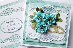Kartka ŚLUBNA z turkusowymi kwiatami