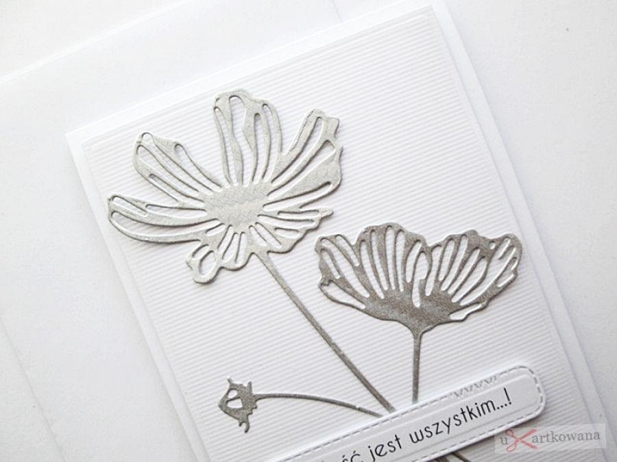 Kartka NA ŚLUB - srebrzyste kwiaty - Kartka na ślub - srebrzyste kwiaty