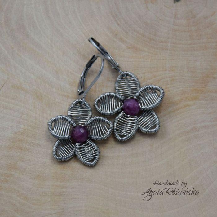 KWIATY kolczyki rubin, wire wrapping