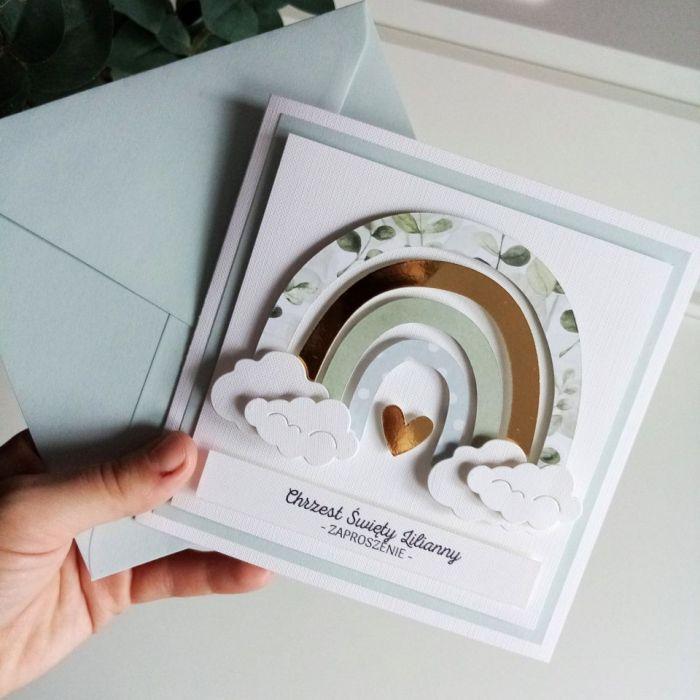 Zaproszenie na chrzest / roczek / urodziny - tecza04