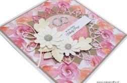 Kartka ślubna białe kwiaty i pastelowe róże