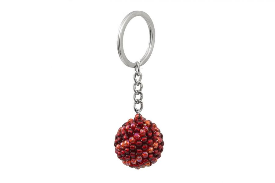Brelok koralikowy kula czerwona - brelok koralikowa kula czerwona 2