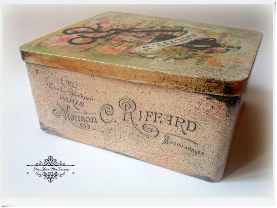Metalowe pudełko w stylu retro - Decoupage.