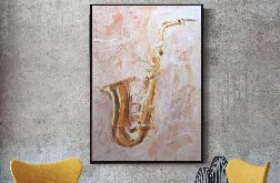 Saksofon II, obraz malowany na płótnie