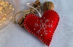Dekoracja świąteczna z filcu z ozdobnym haftem - wzór 008