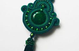 Zielony wisior z agatem i perłami Swarovski