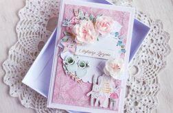 Kartka urodzinowa Baby Joy różowa GOTOWA