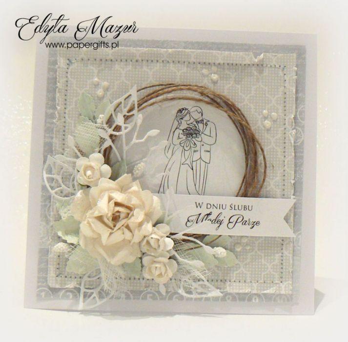 Kartka ślubna szara wianek ręcznie robiona - Kartka ślubna z Młodą Parą