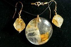 Kwarc rutylowy-włosy Wenus, zestaw biżuterii