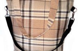Torebka damska torba shopper krata duża