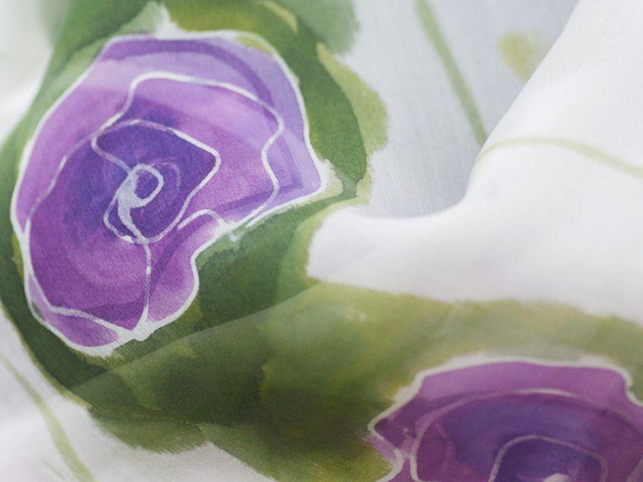 Szal jedwabny fioletowe kwiaty
