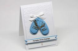 Kartka z okazji Chrztu Św.z bucikami