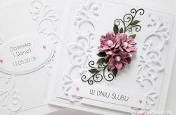 Kartka W DNIU ŚLUBU z różowymi kwiatami #2