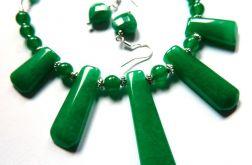 Jadeit zielony, efektowny zestaw biżuterii