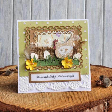 Kartka Wielkanocna eko z kurką 6