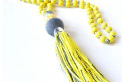 3961 długi żółty naszyjnik z chwostem
